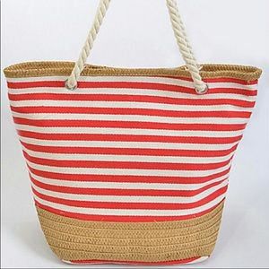 Handbags - 1 LEFT⚠️RED Summer Stripe Tote with Straw Trim❤️